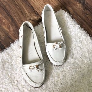 aldo white loafers leather metal gold shoes 8